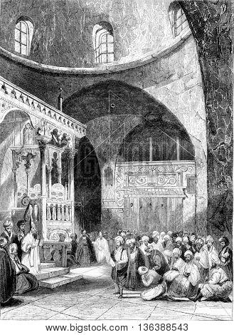 A synagogue in Jerusalem, vintage engraved illustration. Magasin Pittoresque 1843.
