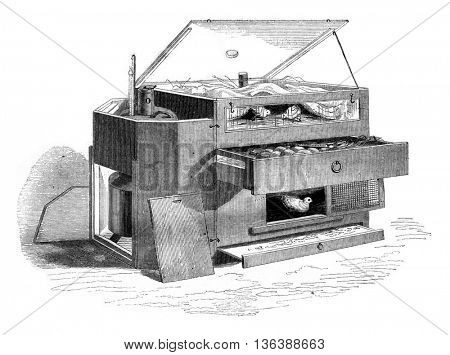 Hatchery Museum of Natural History, Paris, drum cover, coulisse door, vintage engraved illustration. Magasin Pittoresque 1852.