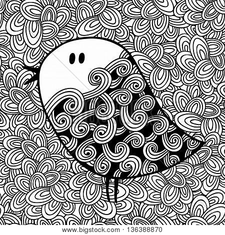 Doodle pattern with black and white bird image for coloring. Vector illustration.