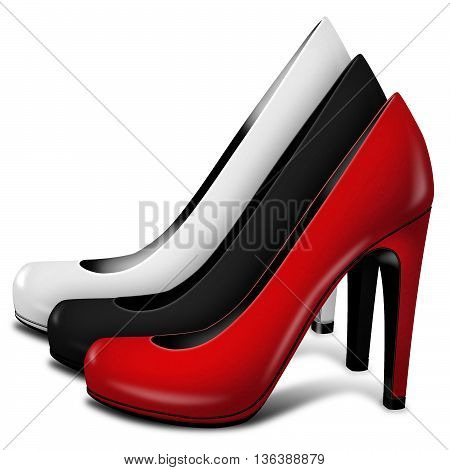 3D Illustration red, black and white women shoes on white background
