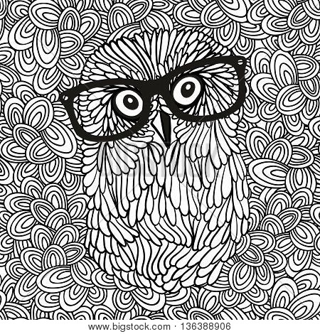 Doodle pattern with black and white hipster owl image for coloring. Vector illustration.