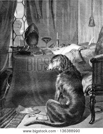 The master of the Dog, by Landseer, vintage engraved illustration. Magasin Pittoresque 1852.