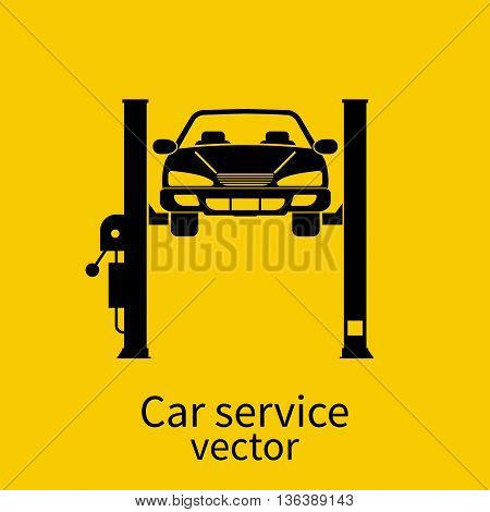 Car on a lift isolated. Car repair icon. Sign of service maintenance vehicle. Flat style vector illustration. Can be used as a road sign of garage service stations.