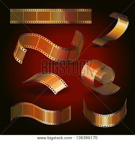 Camera film roll gold color set, 35 mm, festival movie icons vector illustration