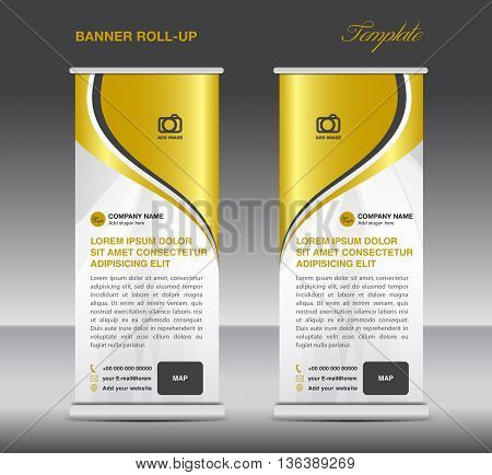 Gold and White Roll up banner stand template advertisement template for business