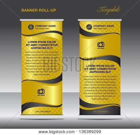 Gold Roll up banner stand template vintage banner design