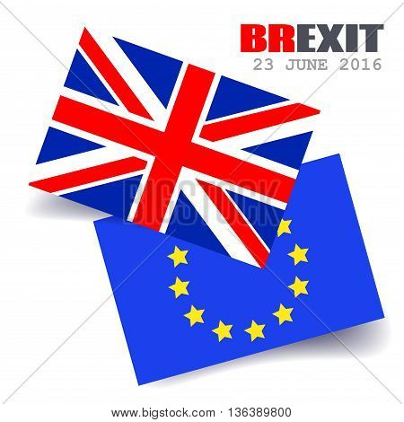 Great Britain Flag and European Union Flag. EU UK Referendum. United Kingdom exit from Europe. Brexit. Vector Illustration.