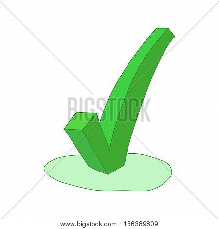 Green check mark icon in cartoon style isolated on white background