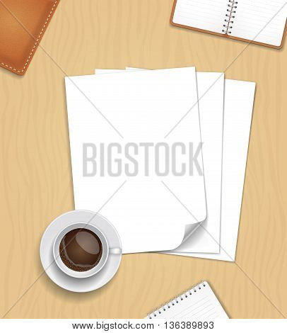 Vector Note Paper and a cup of coffee on wooden table. Office desk composition