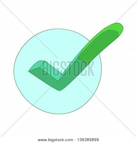 Hand drawn green tick icon in cartoon style isolated on white background