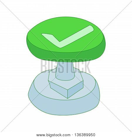 Green button with check mark icon in cartoon style isolated on white background