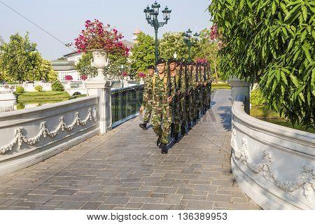 Guards are changing at Bang Pa-In Palace near Bangkok Thailand (Summer Palace of the Thai king)