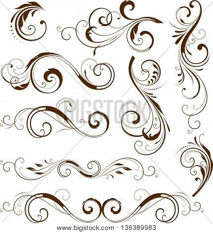 Vector set of ornate calligraphic vintage elements and page decorations. Use for invitations, greeting cards, banners, posters, placards, badges or logotypes.