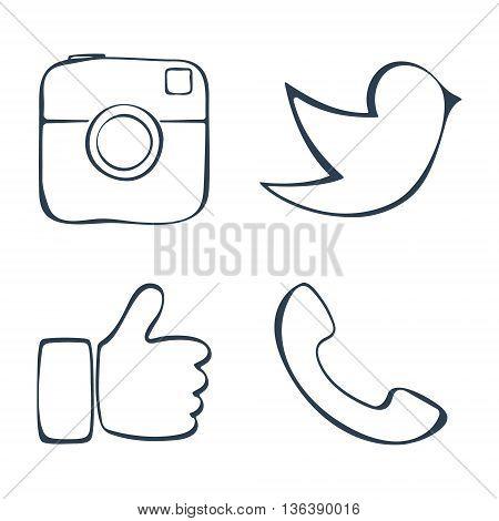 Abstract social media icons set. Retro photo camera, call, hand and bird symbol. Doodle design. Vector illustration