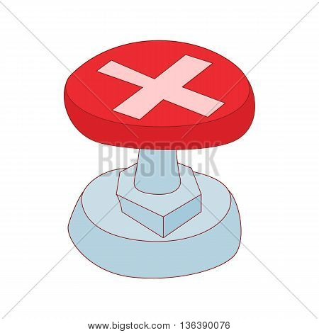 Red button with cross sign icon in cartoon style isolated on white background