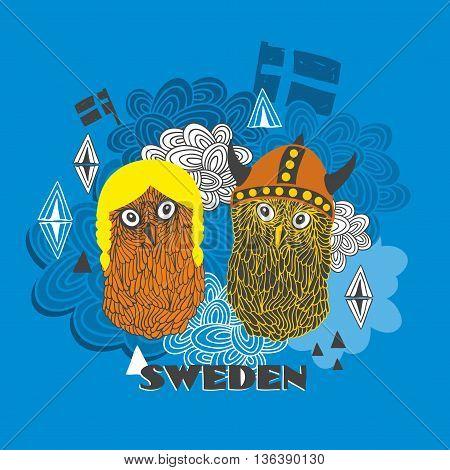 Emblem of Sweden with cute vikings. Vector illustration of smart owls.