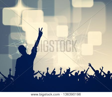 Concert, disco party. People with hands up having fun. Vintage mood illustration