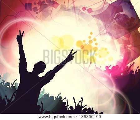 Disco club,  people with hands up having fun. Vintage mood illustration