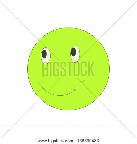 Happy smiley emoticon icon in cartoon style isolated on white background