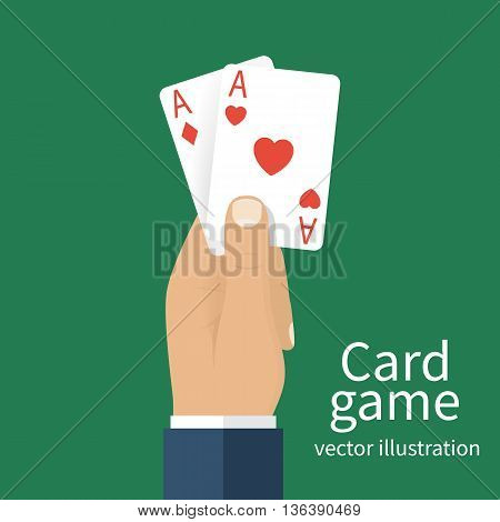 Playing cards in hand men. Vector illustration flat design. Card game template banner. Gambling business. Hand with two aces isolated on background. Gambler in casino. Successful game