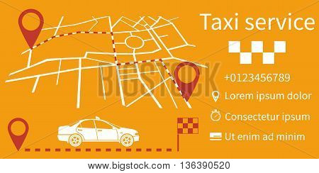 Taxi service. Vector illustration flat design. Taxi call. Information banner can be a template for web applications. Route on a map city with pointers.