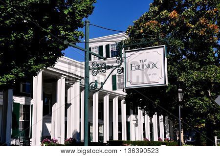Manchester Village Vermont - September 19 2014: Greek Revival luxury Equinox Hotel and Resort is a village landmark established in 1769