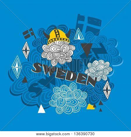 Creative background with swedish symbols. Vector illustration.
