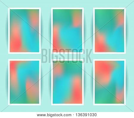 Bright colorful holographic background set. Design for greeting card report cover book print fashion. Modern hipster style trends