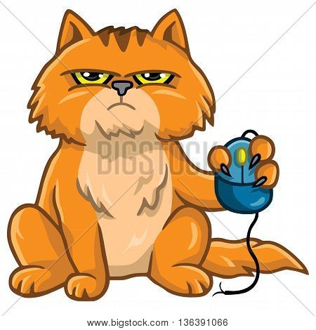 Grumpy Cat Holding Computer Mouse Cartoon Illustration
