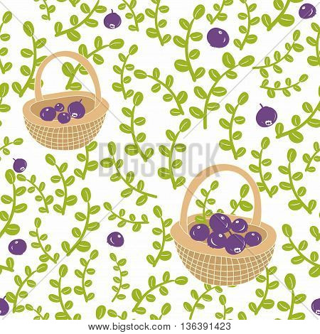 Seamless background with fresh berries seamless pattern.
