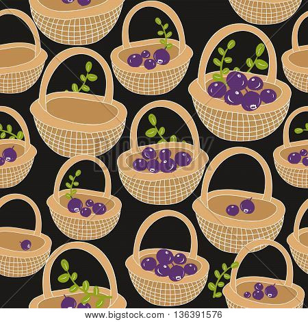 Seamless pattern with forest berries. Vector background. Hand drawn baskets made of wood.