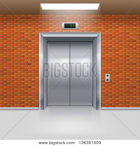Realistic Metal Elevator with Closed Door in a Brick Wall