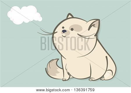 fat white cat sitting and watching with interest in the abstract cloud. Suitable for adding any text. Animal cartoon style vector illustration