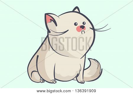 fat gray cat with a little round eyes and bushy tail looking away. Animal cartoon style vector illustration