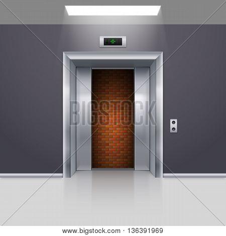 Half Open Chrome Metal Elevator Door with Deadlock