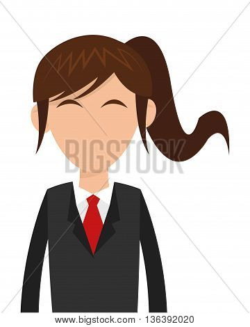 flat design business woman with ponytail icon vector illustration