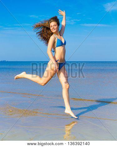 Rushing Girl Clear Blue Sky