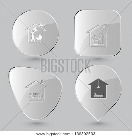 4 images: family home, home reading, home bedroom, hotel. Home set. Glass buttons on gray background. Vector icons.