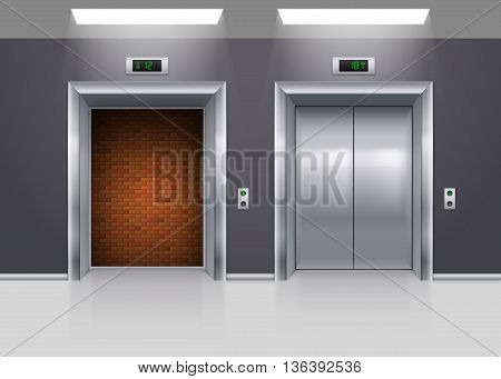 Open and Closed Modern Metal Elevator Doors with Deadlock