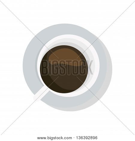simple flat design coffee cup topview icon vector illustration