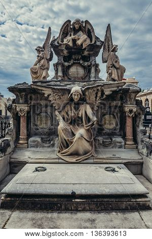 Barcelona Spain - May 24 2015. Gravestone with angel statue at El Cementerio de Poblenou simply called Poblenou Cemetery in Poblenou district of Barcelona