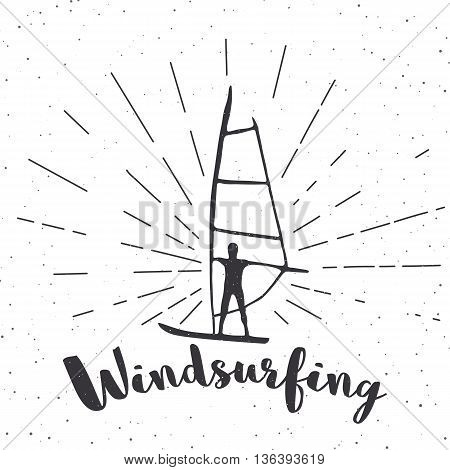Creative vintage poster with windsurfing. Print on t-shirts and bags labels and advertising. Vector inspirational illustration.