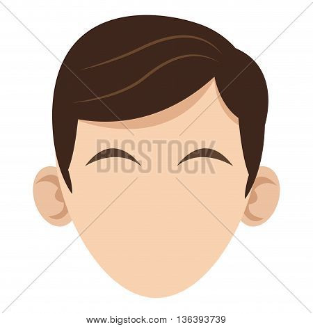 simple flat design head of caucasian man with brown hair icon vector illustration