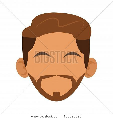 simple flat design head of tan man with hair and beard icon vector illustration