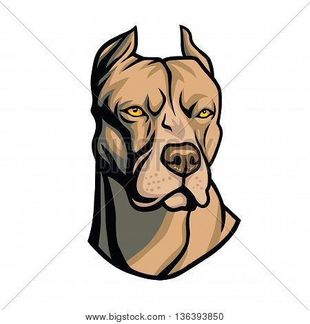 Cool Pit bull Head Vector Art Illustration