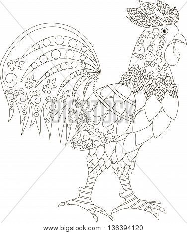Zentangle stylized cock black and white hand drawn, vector illustration
