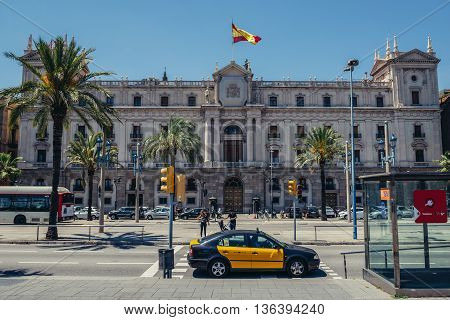 Barcelona Spain - May 28 2015. View of Palacio Capitania General de Barcelona located at Passeig de Colom street in Barcelona