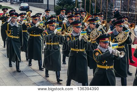 Kiev Ukraine - April 8 2015. Military orchestra marches in Kiev