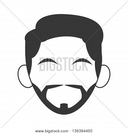 simple flat design head of man with hair icon vector illustration