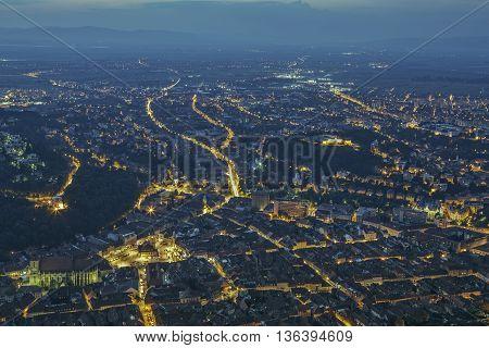 Brasov Aerial Night Cityscape